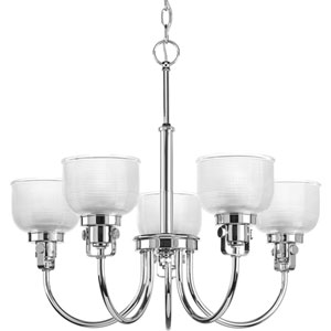 Archie Polished Chrome Five-Light Chandelier with Clear Prismatic Glass