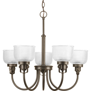 Archie Venetian Bronze Five-Light Chandelier with Clear Prismatic Glass