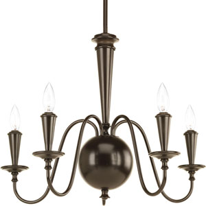 P4713-20 Identity Antique Bronze Five-Light 24-Inch Chandelier