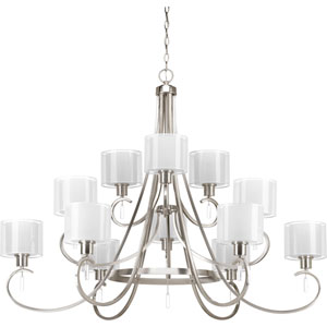 P4725-09 Invite Brushed Nickel Twelve-Light Chandelier