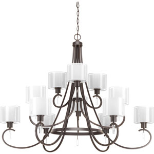 P4725-20 Invite Antique Bronze Twelve-Light Chandelier