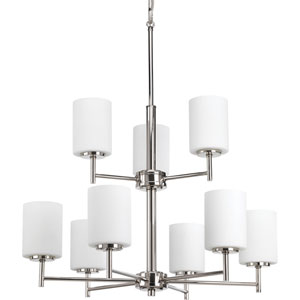 P4726-104 Replay Polished Nickel Nine-Light Chandelier