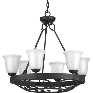 P4730-71 Enclave Gilded Iron Six-Light Chandelier