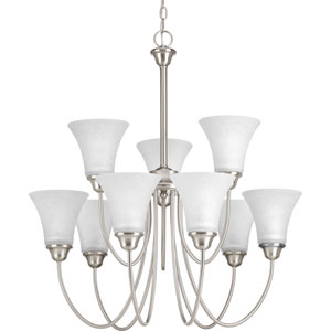 P4743-09 Tally Brushed Nickel Nine-Light Chandelier