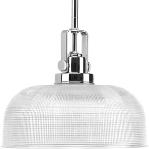 Archie Polished Chrome One-Light Pendant with Clear Prismatic Glass