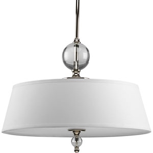 Fortune Polished Nickel Three-Light Pendant with White Linen Glass fabric Shade
