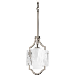 Caress Polished Nickel One-Light Convertiable Mini-Pendant with Glass Diffuser