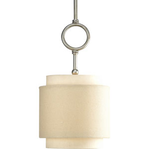 Ashbury Silver Ridge One-Light Mini-Pendant with Toasted Linen Drum Shade