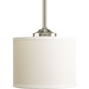Inspire Brushed Nickel One-Light Mini Pendant with Beige Linen Shade