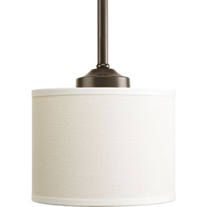 Inspire Antique Bronze One-Light Mini Pendant with Beige Linen Shade