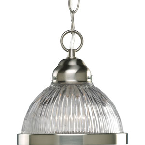 Prismatic Glass Brushed Nickel 44-Inch One-Light Mini Pendant with Clear Prismatic Glass