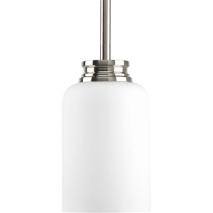 Orbitz Brushed Nickel One-Light Mini Pendant with Opal Etched Glass