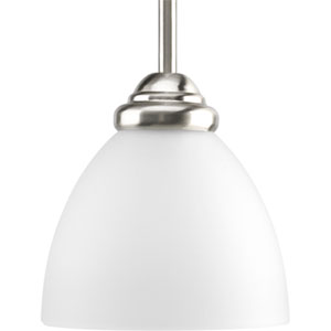 Heart Brushed Nickel One-Light Mini Pendant with Etched Glass Shade