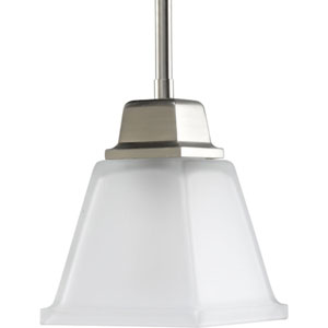 North Park Brushed Nickel One-Light Mini Pendant with Etched Glass