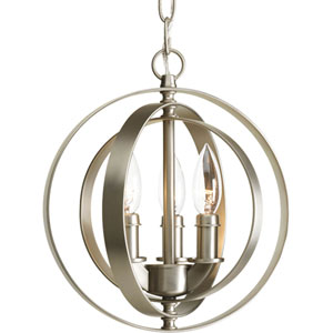 Equinox Burnished Silver Three-Light Pendant with Matching Candle Sleeves