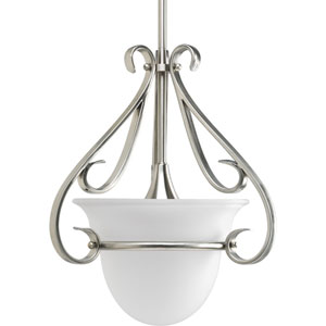 Torino Brushed Nickel 15.12-Inch One-Light Mini Pendant with Etched Glass Bowl