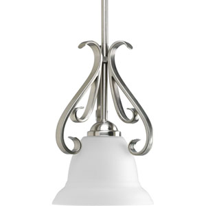 Torino Brushed Nickel 11-Inch One-Light Mini Pendant with Etched Glass Shade