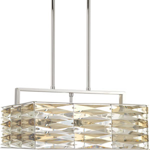 P5154-15 The Pointe Polished Chrome 15.5-Inch Five-Light Square Pedant
