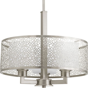 P5155-09 Mingle Brushed Nickel 15.5-Inch Three-Light Drum Pendant