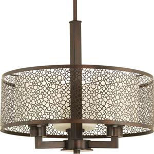 P5155-20 Mingle Antique Bronze 15.5-Inch Three-Light Drum Pendant