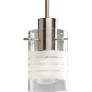 Glass Pendant Brushed Nickel 49-Inch One-Light Mini Pendant with Clear and Etched Glass