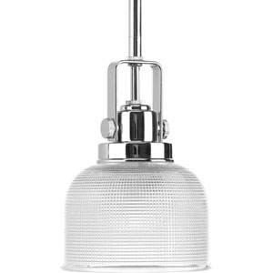 Archie Polished Chrome One-Light Mini Pendant with Clear Prismatic Glass