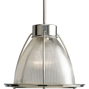 Glass Pendant Brushed Nickel 53-Inch One-Light Mini Pendant with Clear Prismatic Glass