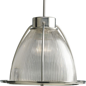 Glass Pendant Brushed Nickel 56-Inch One-Light Mini Pendantwith Clear Prismatic Glass