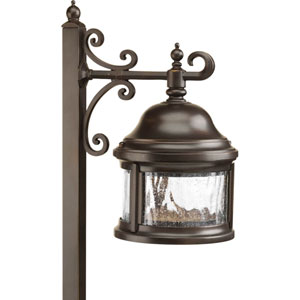 Ashmore Antique Bronze One-Light Landscape with Water Seeded Glass Curved Panels