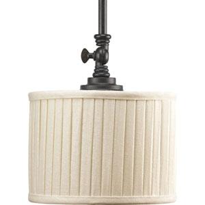 Clayton Espresso One-Light Mini-Pendant with Cream Pleated Linen Shade