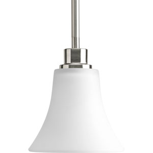 Joy Brushed Nickel One-Light Mini Pendant with Etched Glass Shade