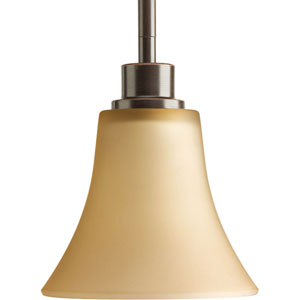 Joy Antique Bronze One-Light Mini Pendant with Etched light Umber Glass Shade