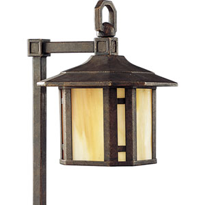 Arts and Crafts Weathered Bronze One-Light Landscape