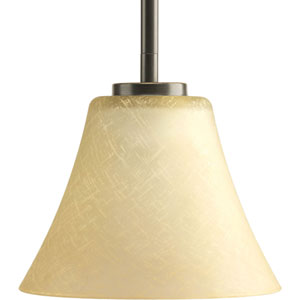 Bravo Antique Bronze One-Light Mini Pendant with Umber linen Glass Shade