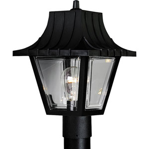 Mansard Textured Black One-Light Outdoor Post Light