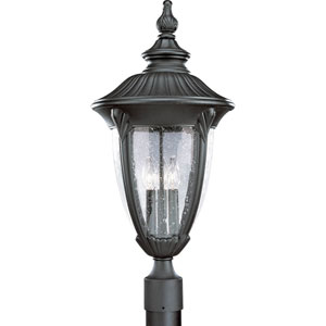 P5420-31:  Meridian Black Three-Light Outdoor Post Mounted Lantern
