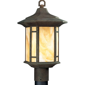 P5428-46:  Arts and Crafts Weathered Bronze One-Light Outdoor Post Mounted Lantern