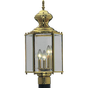 P5432-10:  BrassGUARD Lanterns Polished Brass Three-Light Outdoor Post Mounted Lantern