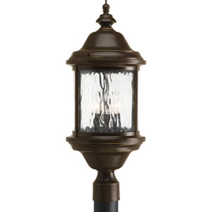 Ashmore Antique Bronze Three-Light Outdoor with Water Seeded Glass Curved Panels