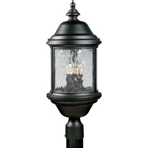 P5450-31:  Ashmore Textured Black Three-Light Outdoor Post Mounted Lantern