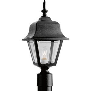 P5456-31:  Black One-Light Clear Beveled Acrylic Outdoor Post Mounted Lantern