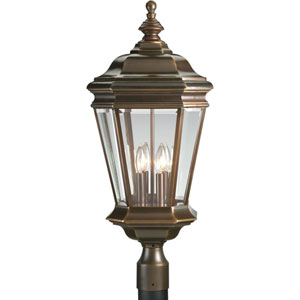 P5474-108:  Crawford Oil Rubbed Bronze Four-Light Outdoor Post Mounted Lantern