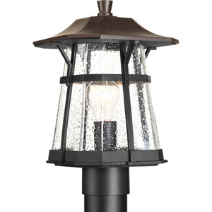 Derby Espresso One-Light Outdoor Post Lantern with Clear Seeded Glass