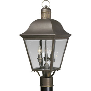 P5487-20:  Andover Antique Bronze Three-Light Outdoor Post Mounted Lantern