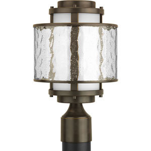Bay Court Outdoor Antique Bronze One-Light Outdoor Post Lantern with Distressed Clear and Etched Opal Glass Cylinder