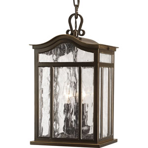 Meadowlark Oil Rubbed Bronze Three-Light Outdoor Pendant with Water Seeded Glass