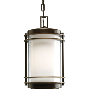 Penfield Oil Rubbed Bronze One-Light Outdoor Pendant with Clear and White Opal Glass Cylinder