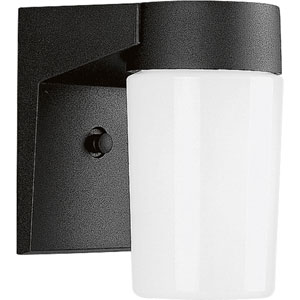 Cast Aluminum Black One-Light Outdoor Wall Mount with White Opal Glass