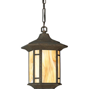 P5528-46:  Arts and Crafts Weathered Bronze One-Light Outdoor Pendant