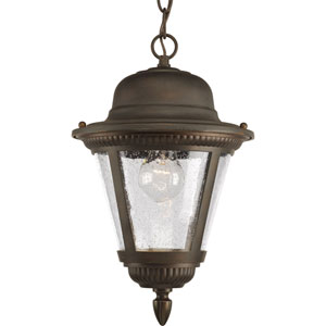 Westport Antique Bronze One-Light Outdoor Pendant Hanging with Clear Seeded Glass